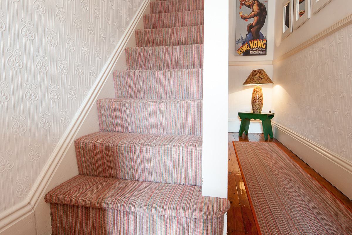 Case Study 01 Bright Finely Striped Stairs Landing